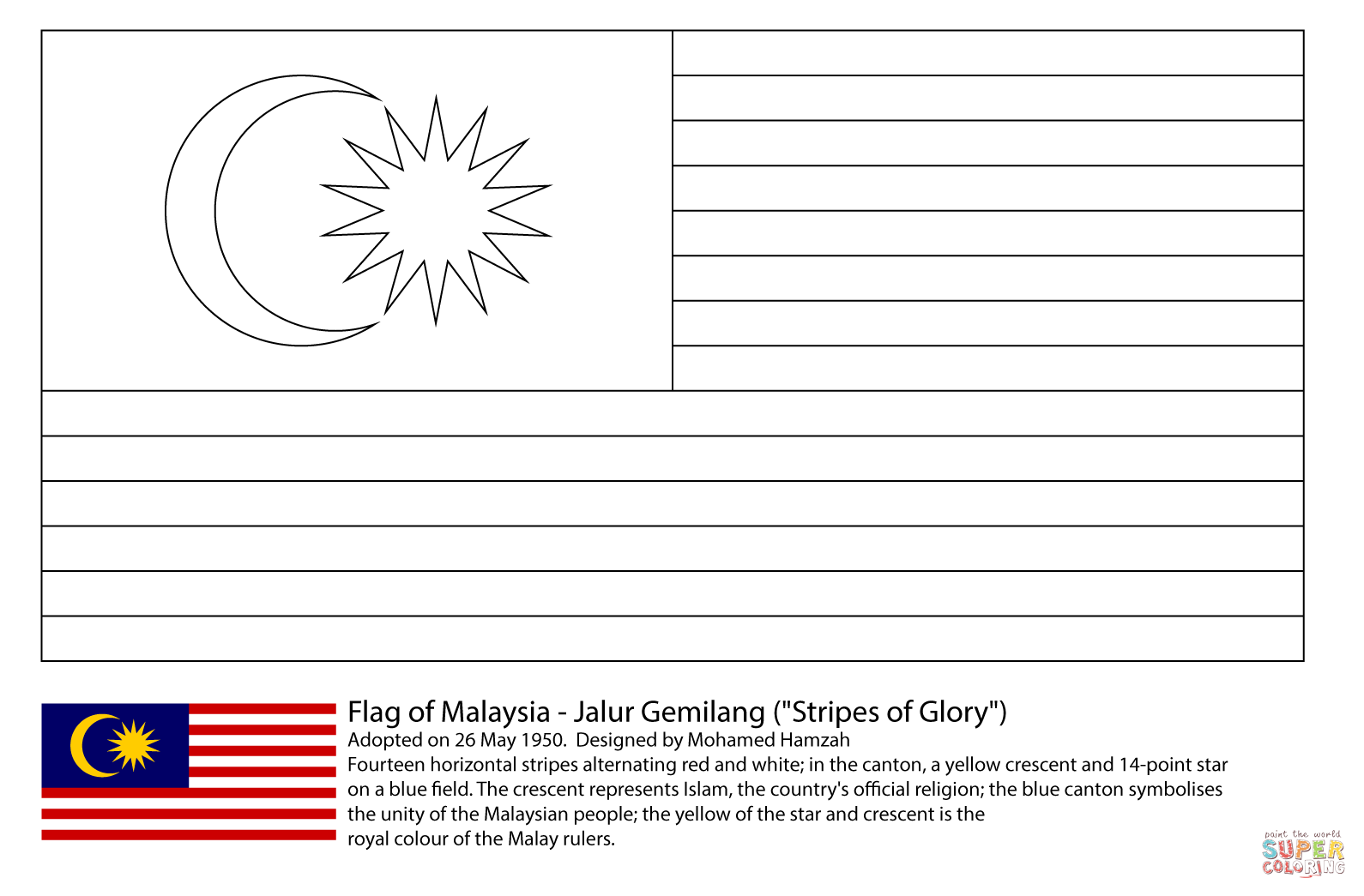 Flag Of Malaysia Coloring Page