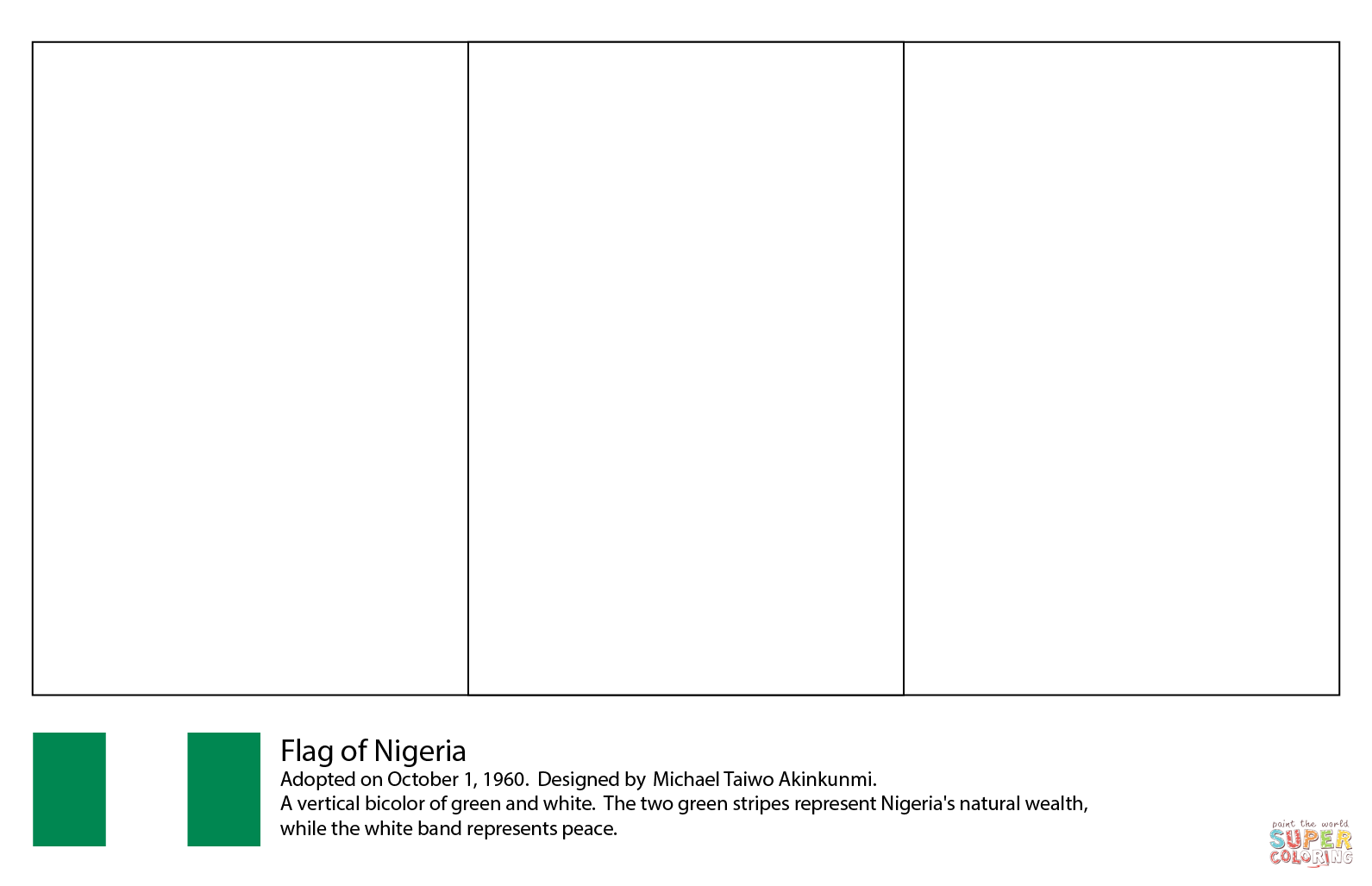 Flag Of Nigeria Coloring Page