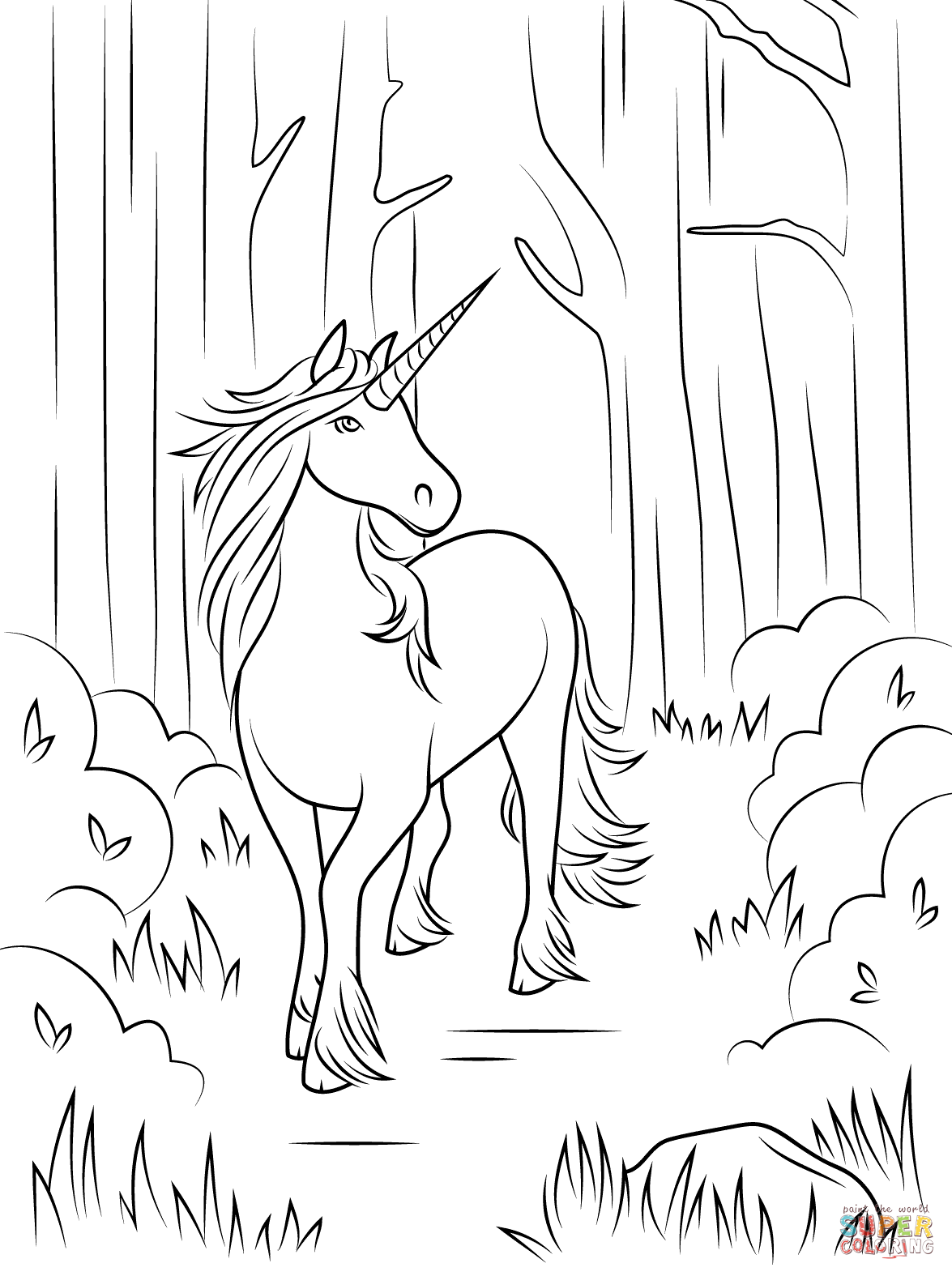 Forest Unicorn Coloring Page