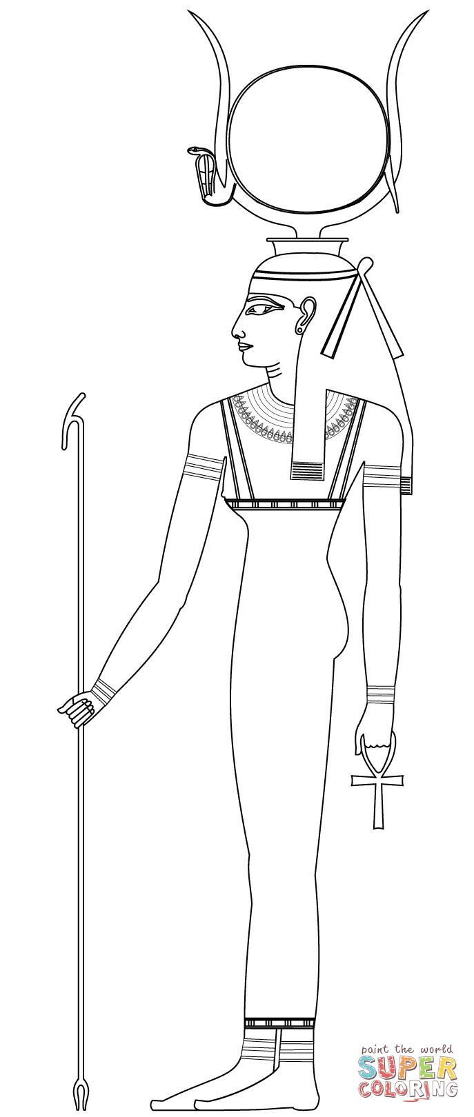 Disegno di Hathor, antica divinità egizia da colorare