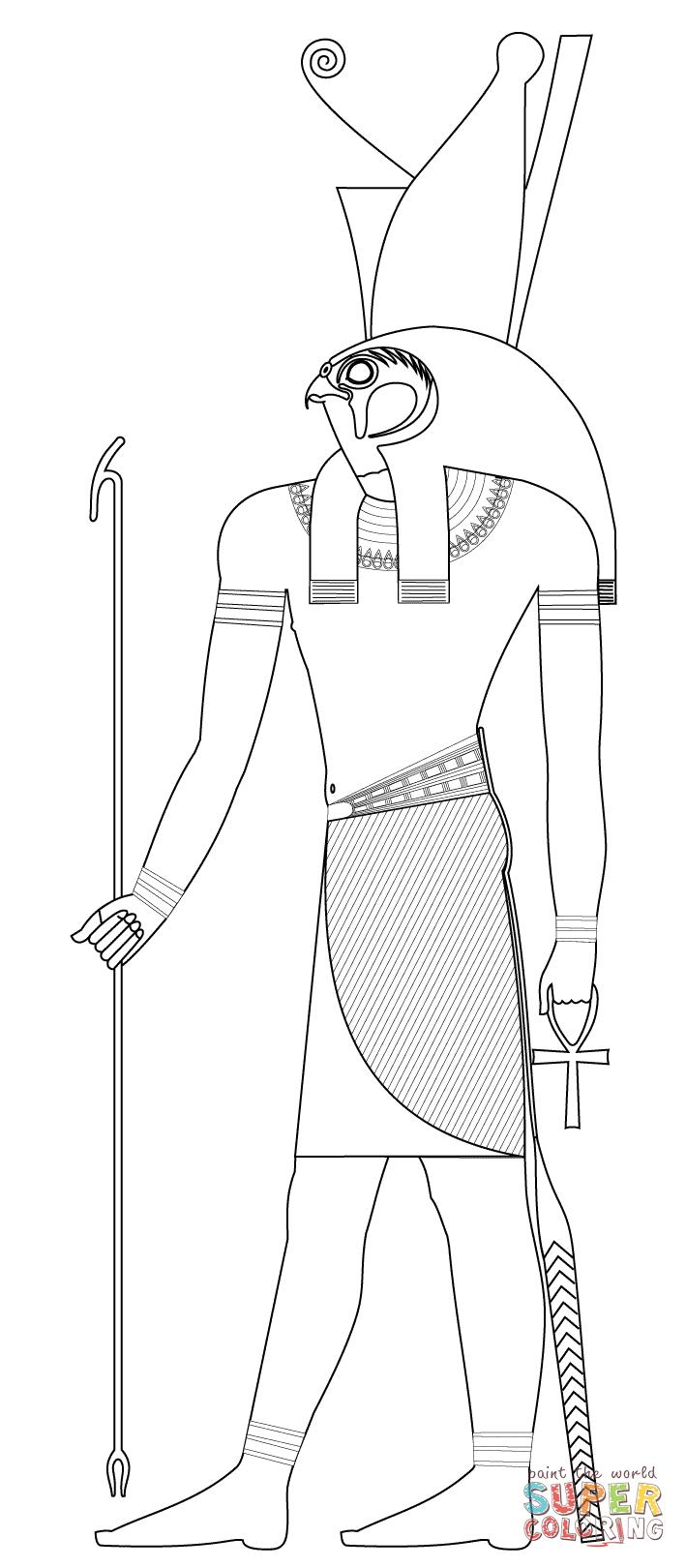 Disegno di Horus, antica divinità egizia da colorare