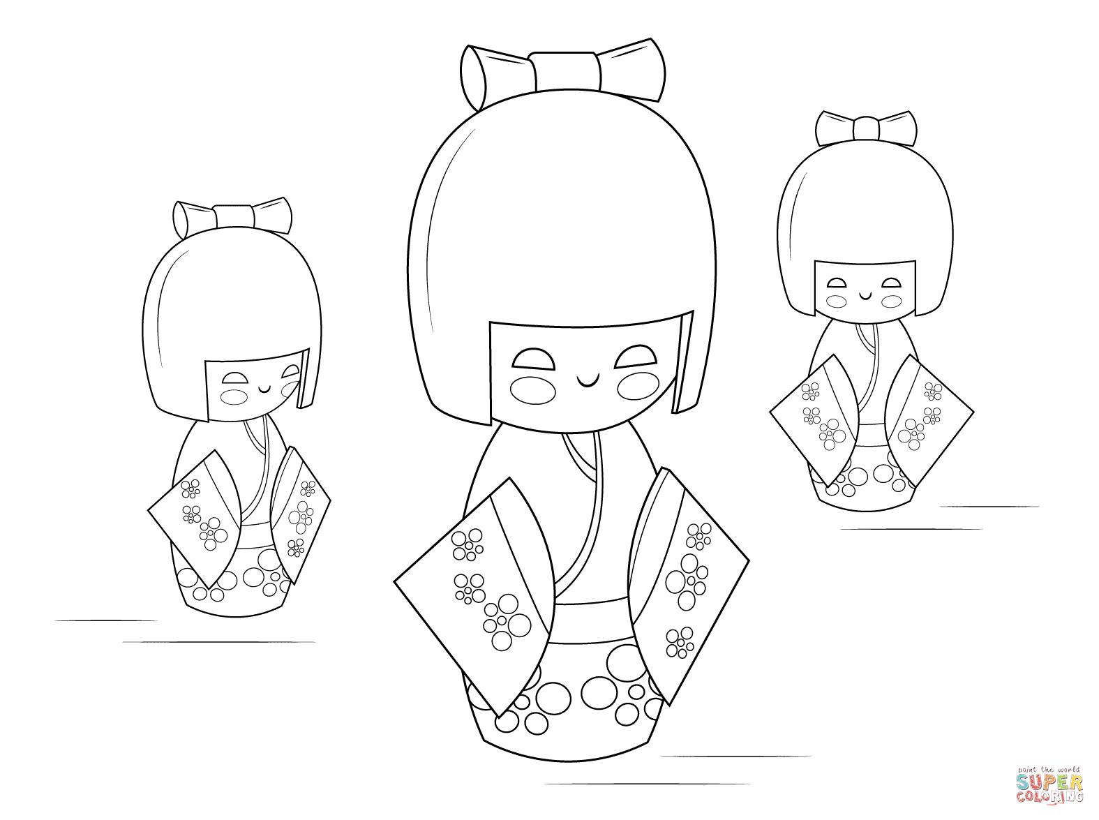 Kokeshi Dolls Coloring Page