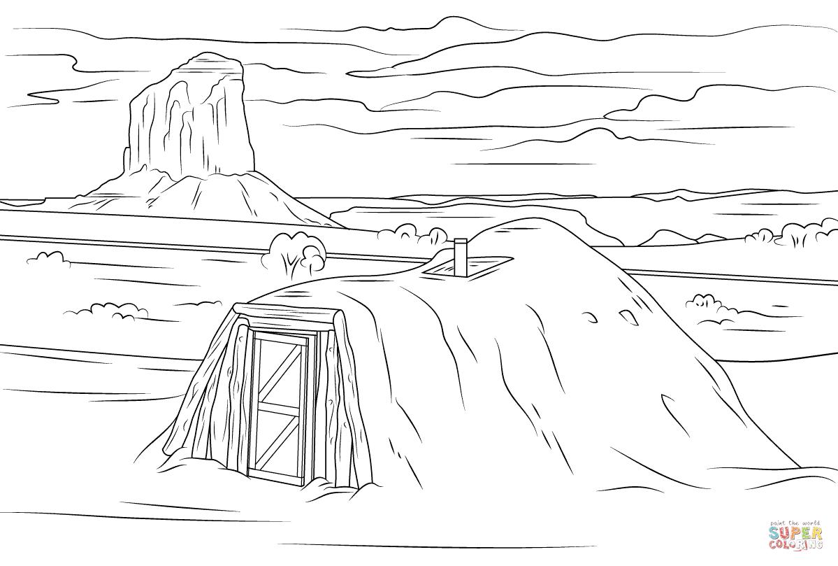 Navajo Hogan In Monument Valley Coloring Page