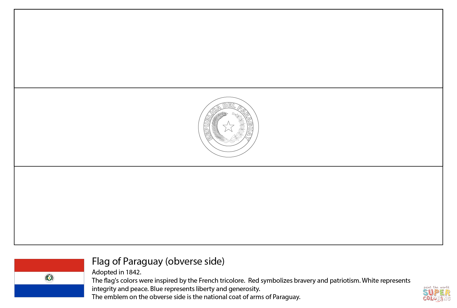 Paraguay Flag Coloring Page