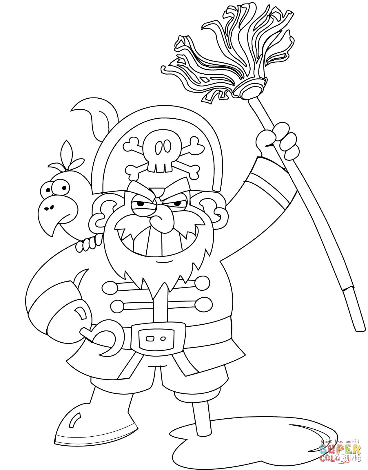 Pirate With Mop Coloring Page