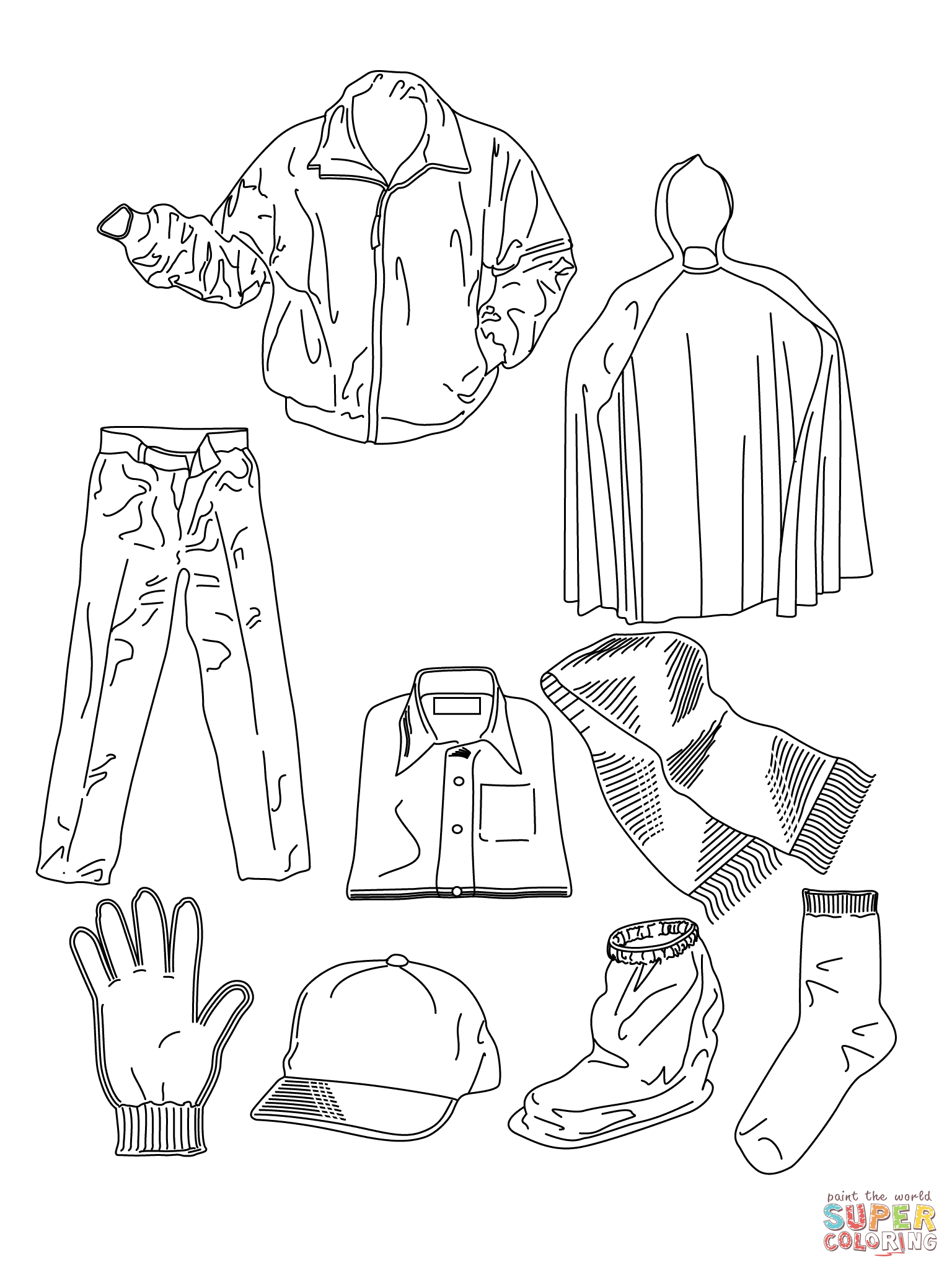 Various Clothes Coloring Page