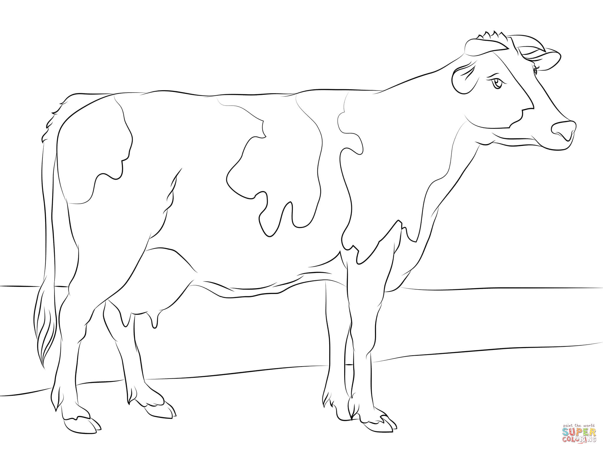 Holstein Cow Coloring Page