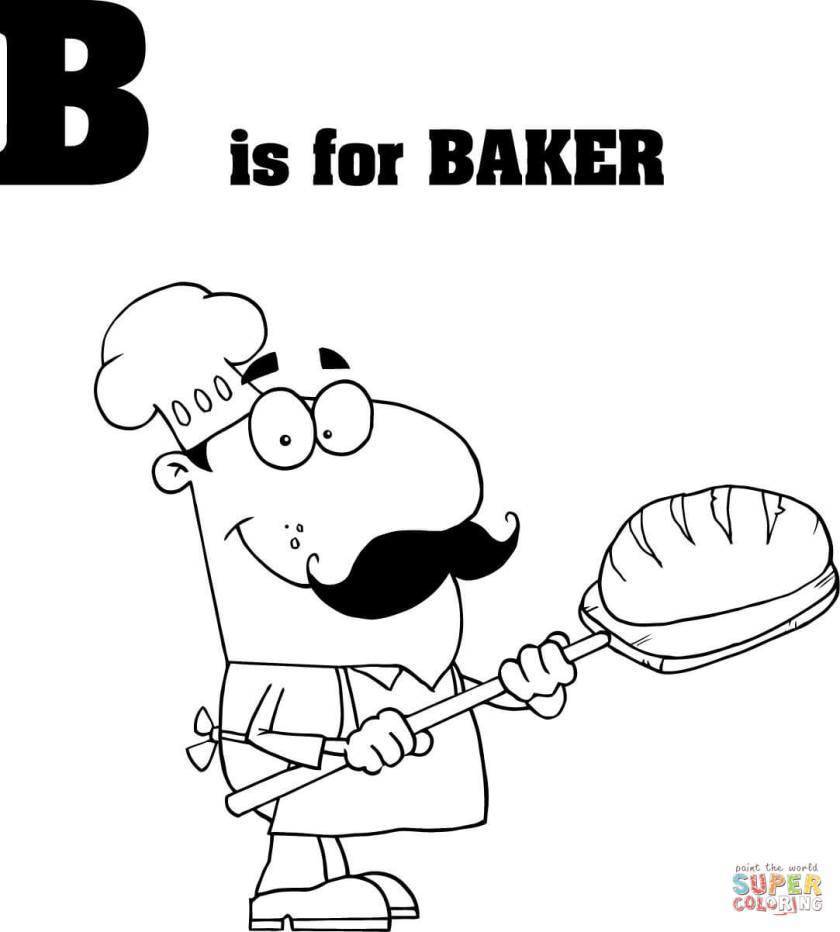 letter b is for baker coloring page  free printable