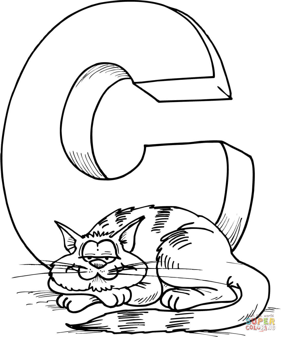 Letter C Is For Cat Coloring Page
