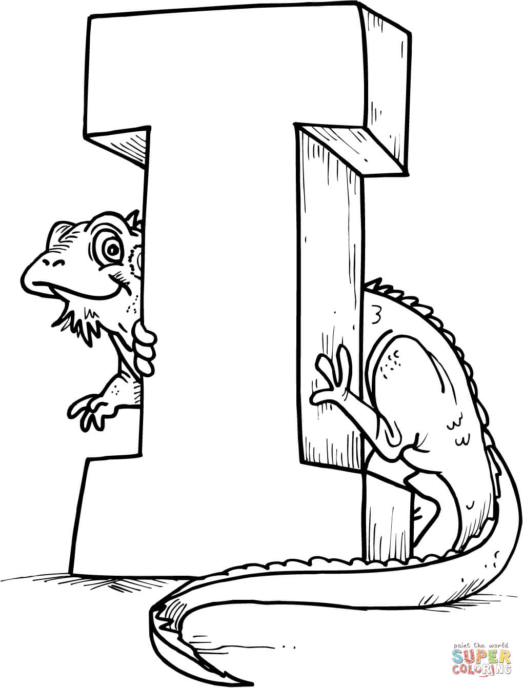 Letter I is for Iguana coloring page  Free Printable Coloring Pages