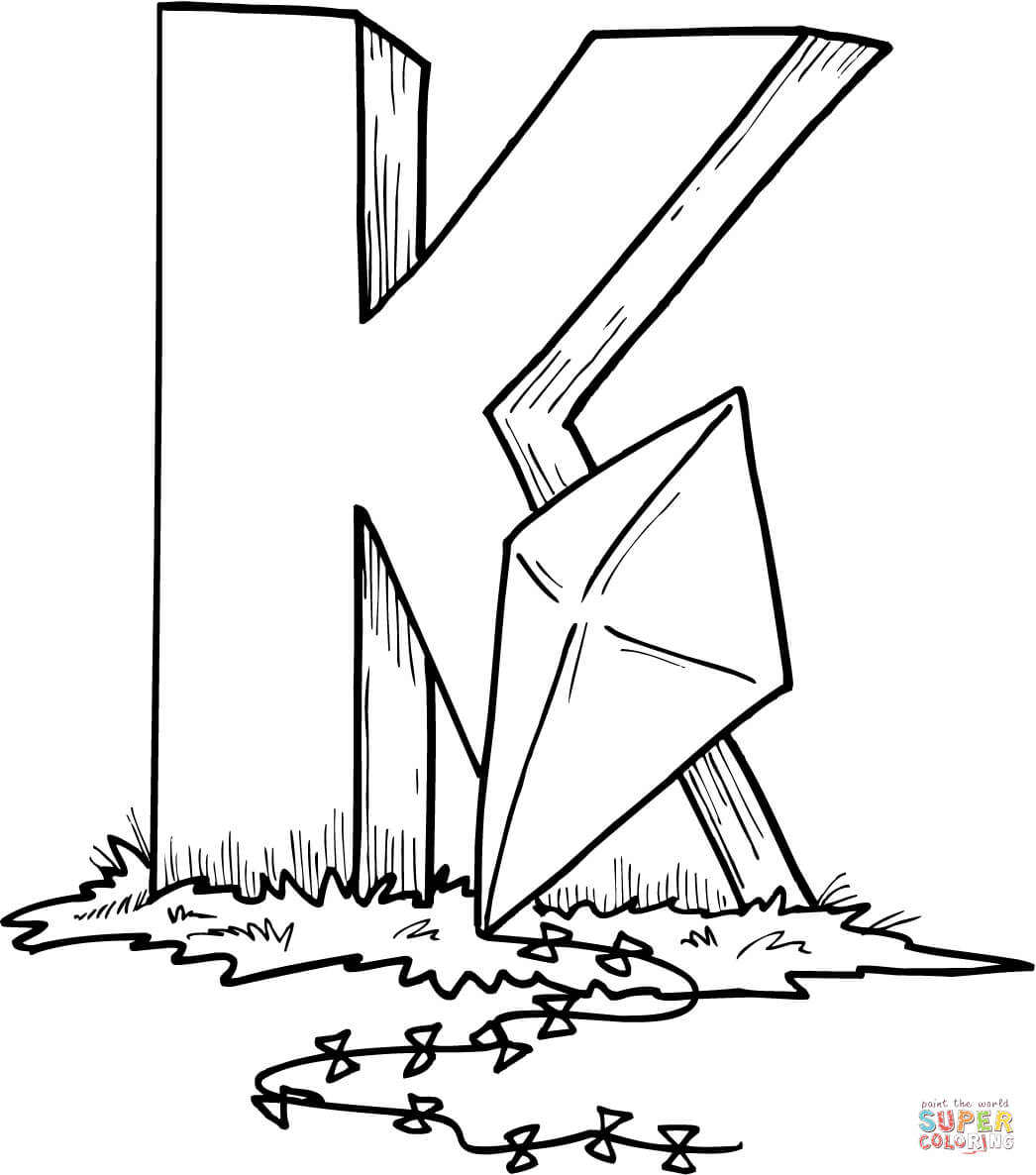 Letter K Is For Kite Coloring Page
