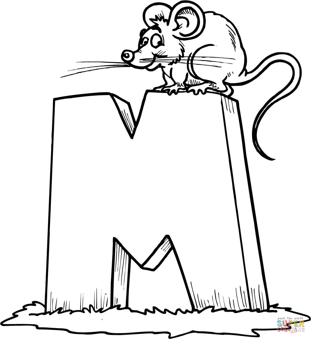 Letter M Is For Mouse Coloring Page