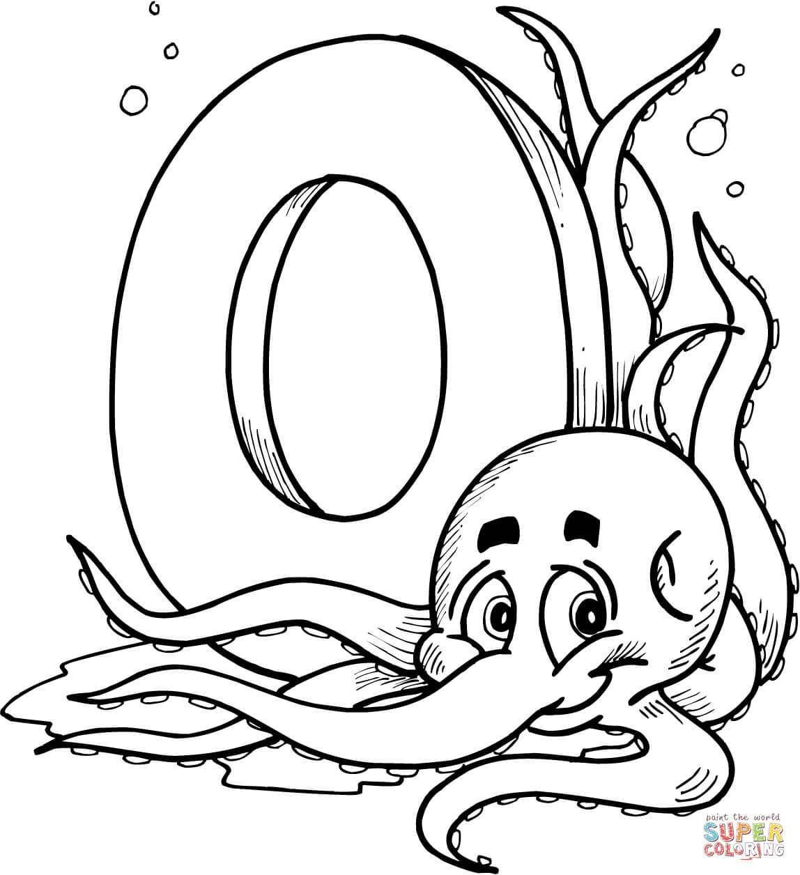 Letter O Is For Octopus Coloring Page