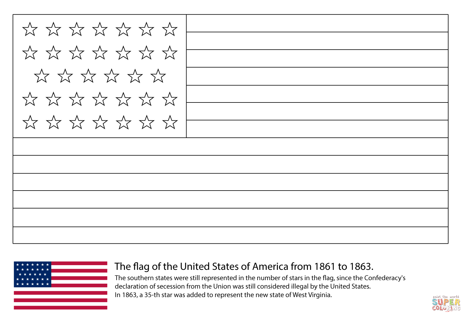 Us Flag With 34 Stars Coloring Page