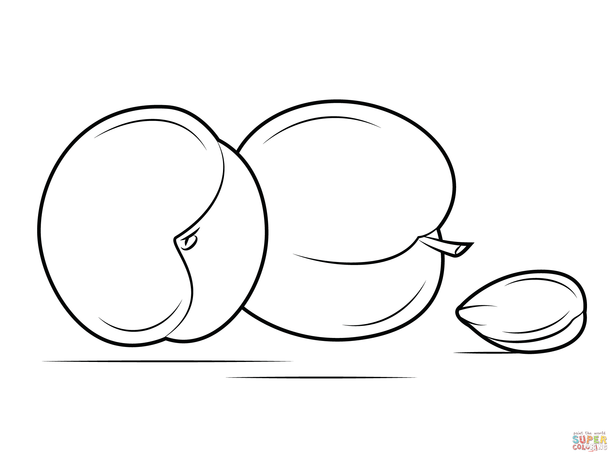 Two Apricots And Seed Coloring Page