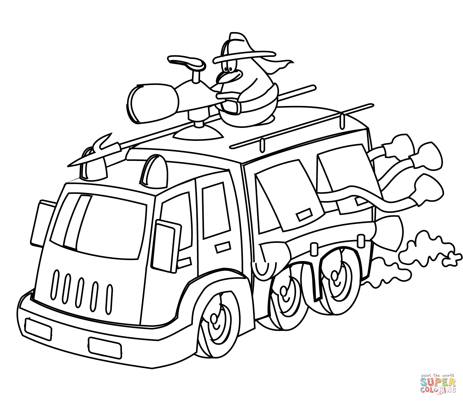 Cartoon Fire Truck Coloring Page