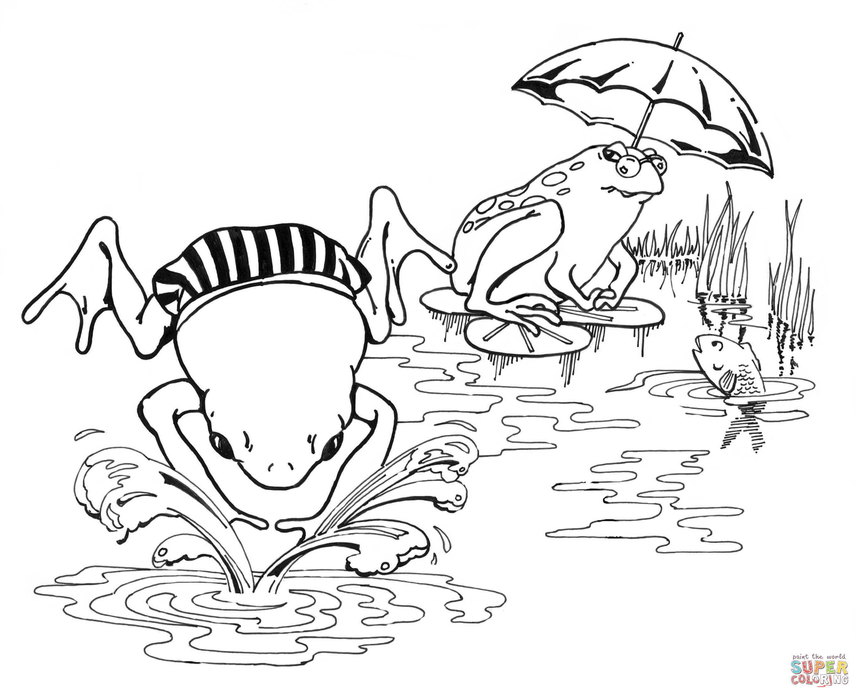 Cartoon Frogs Swimming Coloring Page