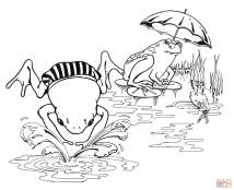 Cartoon Frogs Swimming coloring page Free Printable