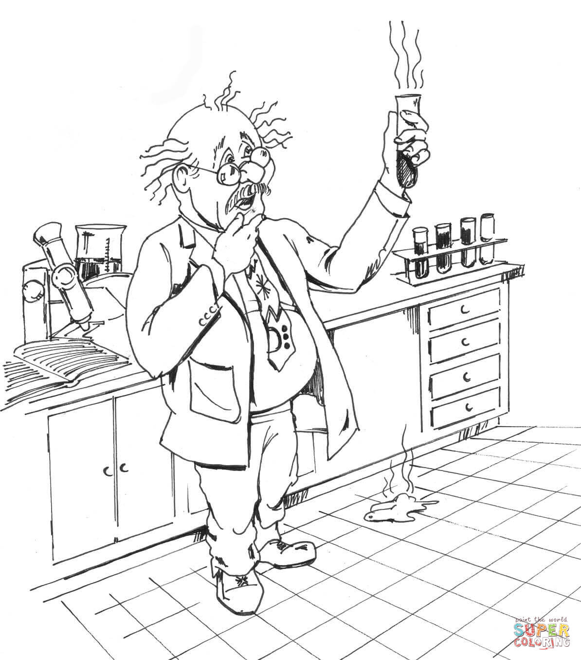 Chemical Scientist Coloring Page