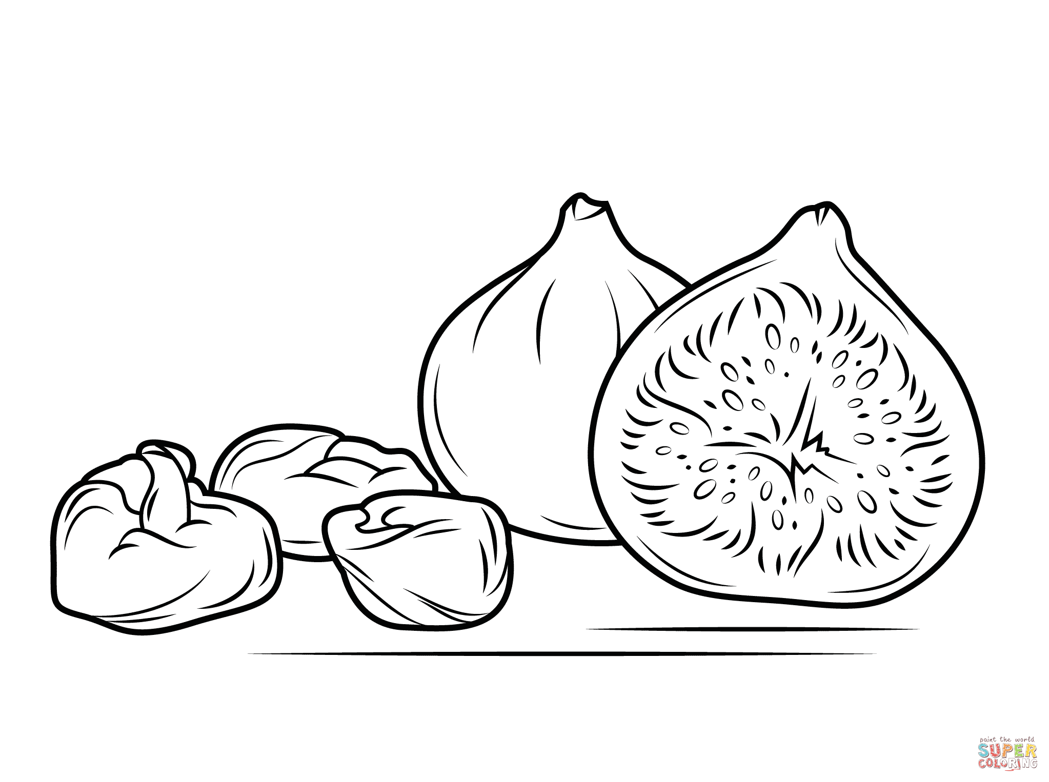 Fresh And Dry Figs Coloring Page