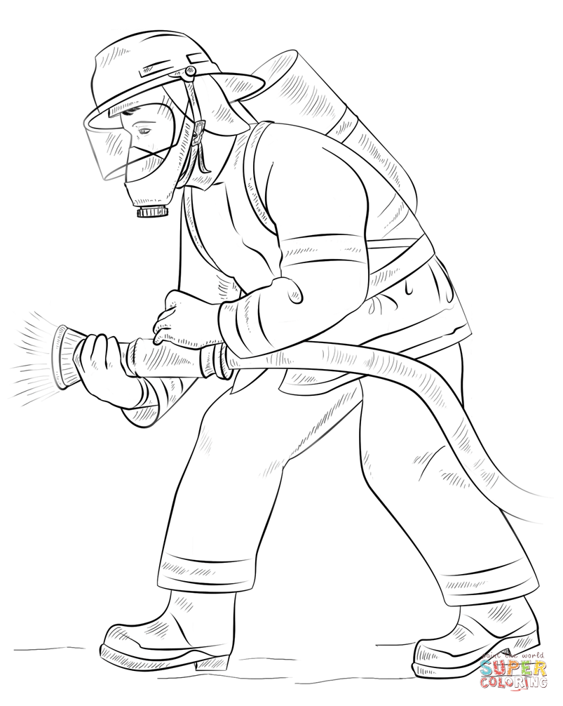 Female Firefighter Pages Coloring Pages