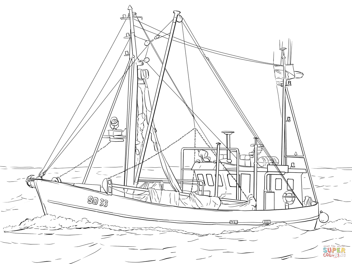 Fishing Boat Coloring Page