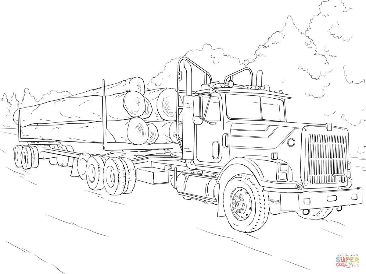 hight resolution of click the log truck coloring pages