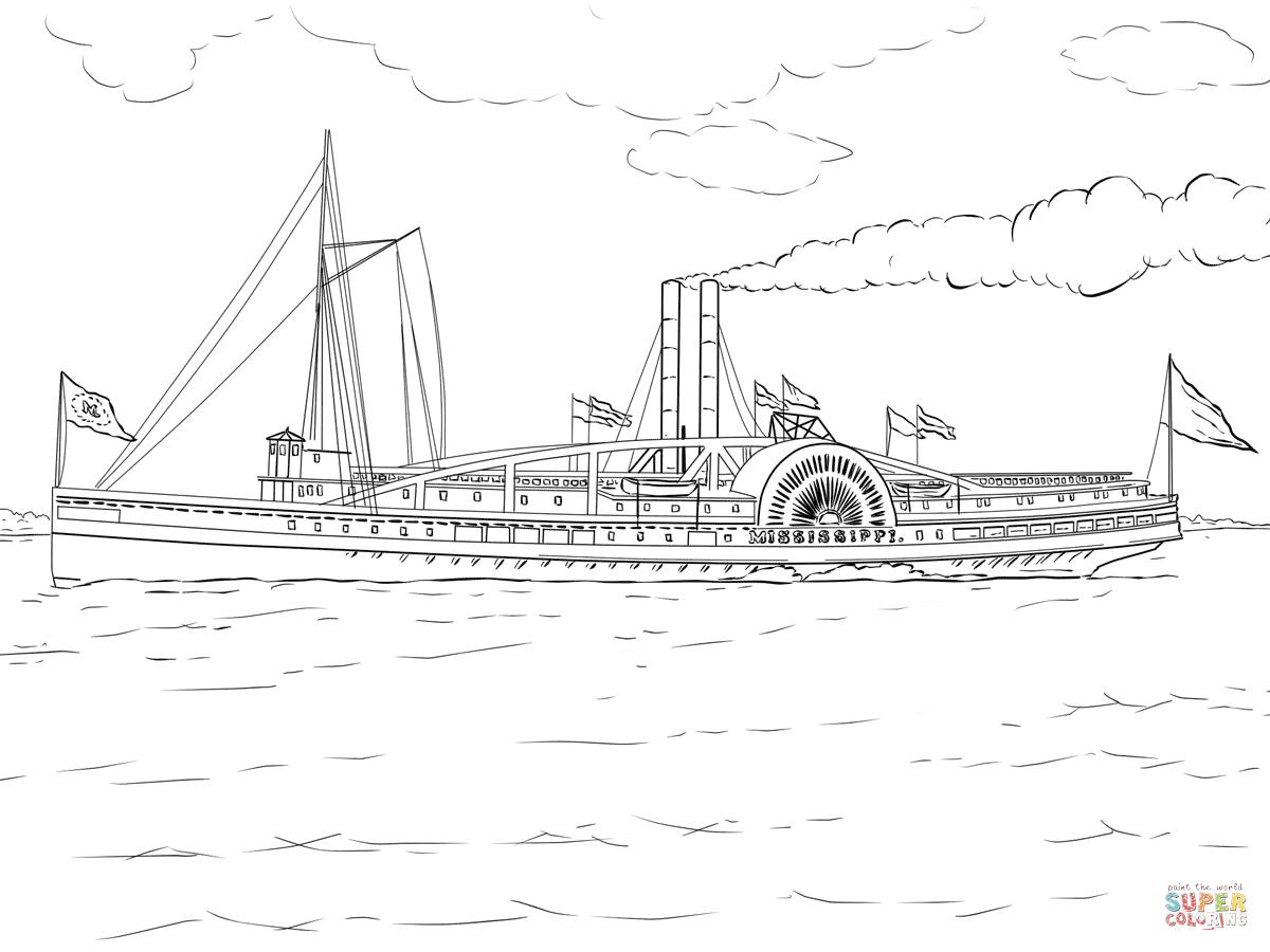 Ausmalbild Mississippi Dampfschiff Ausmalbilder