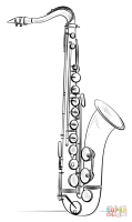 Saxophone coloring page   Free Printable Coloring Pages