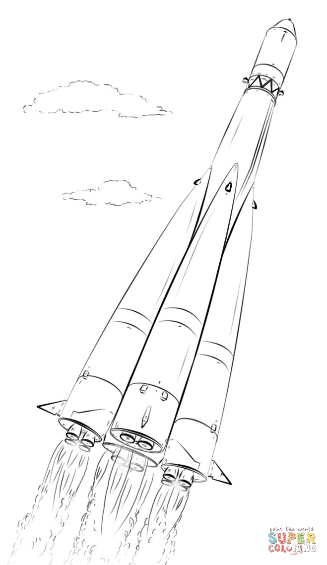 Rocket And Astronaut Coloring Pages