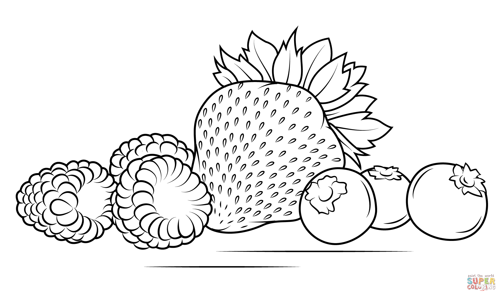 Strawberries Raspberries And Blueberries Coloring Page