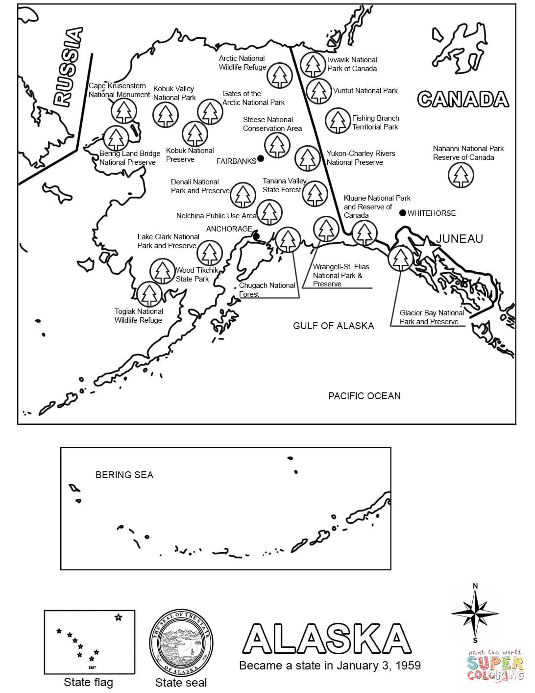 Map Of Alaska Coloring Page