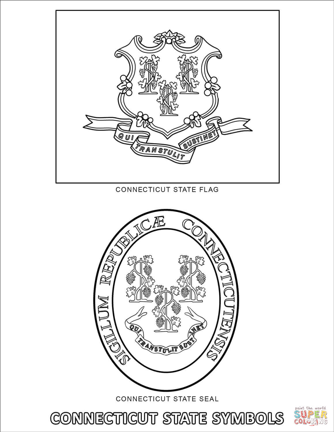 Connecticut State Symbols Coloring Page