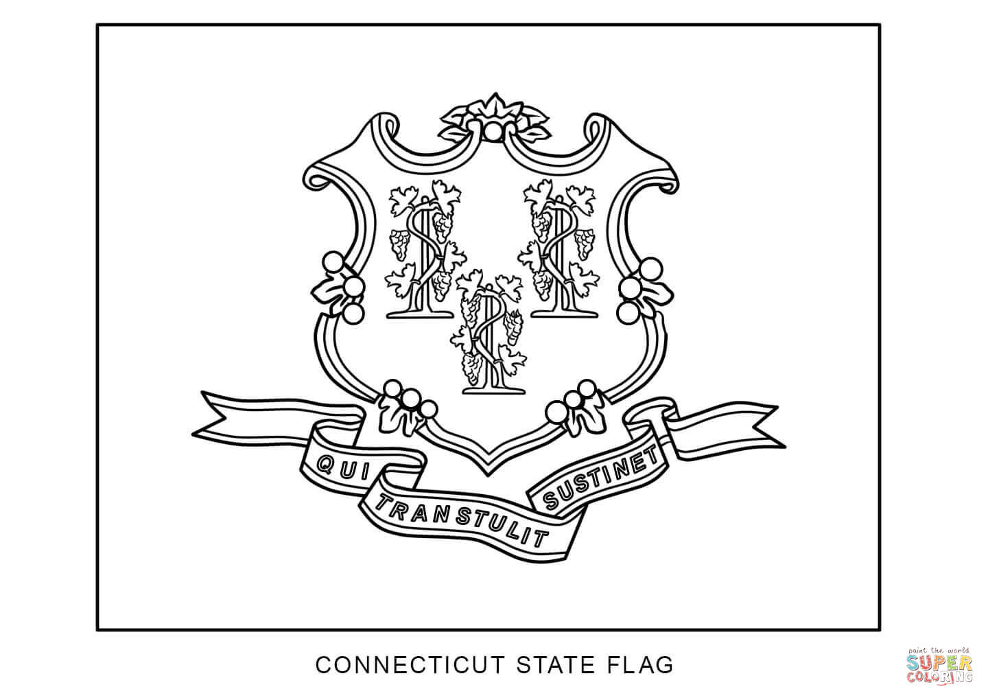 Flag Of Connecticut Coloring Page