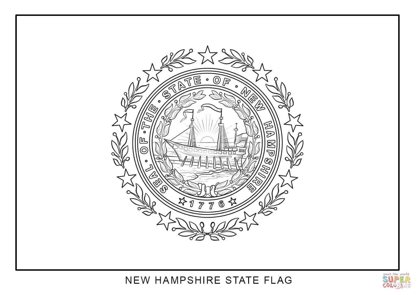 Flag Of New Hampshire Coloring Page