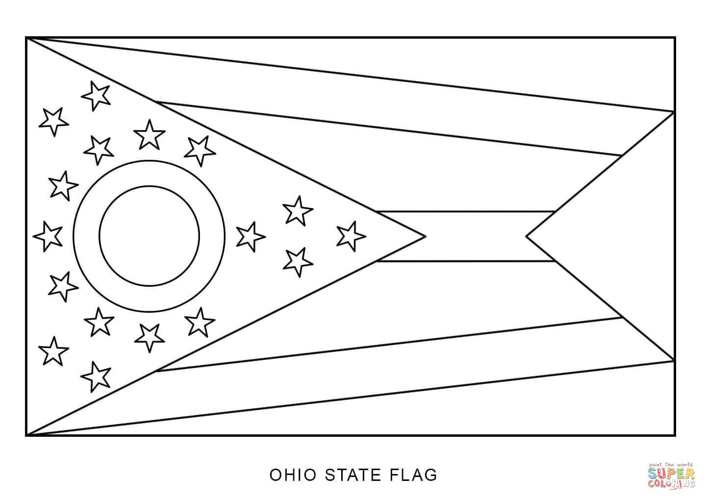 Flag Of Ohio Coloring Page