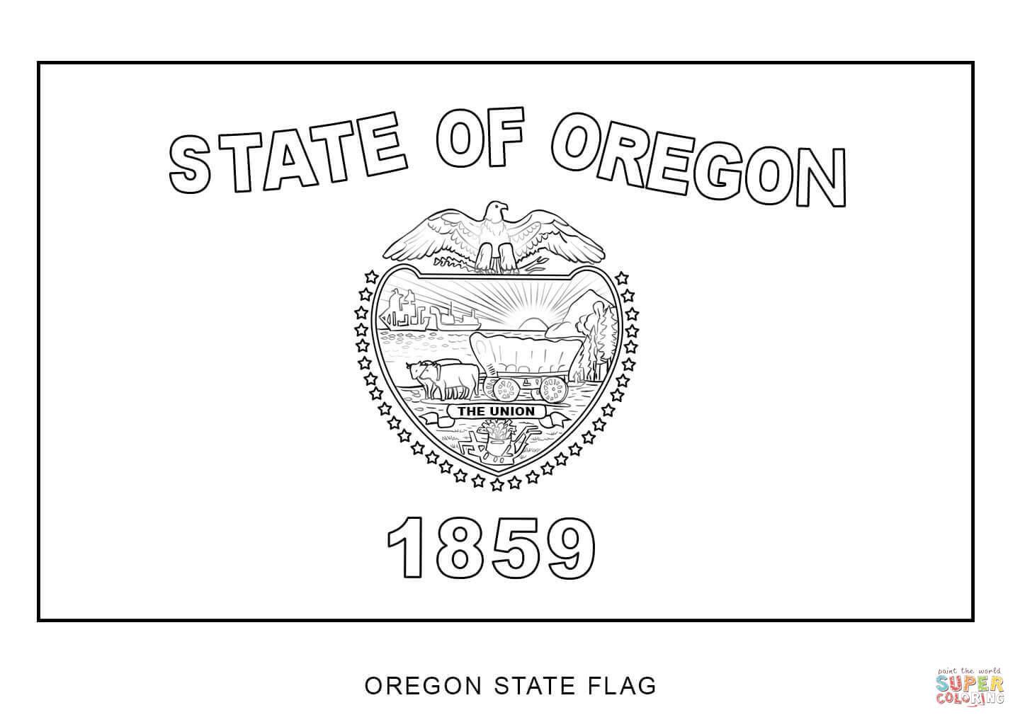 Flag Of Oregon Coloring Page