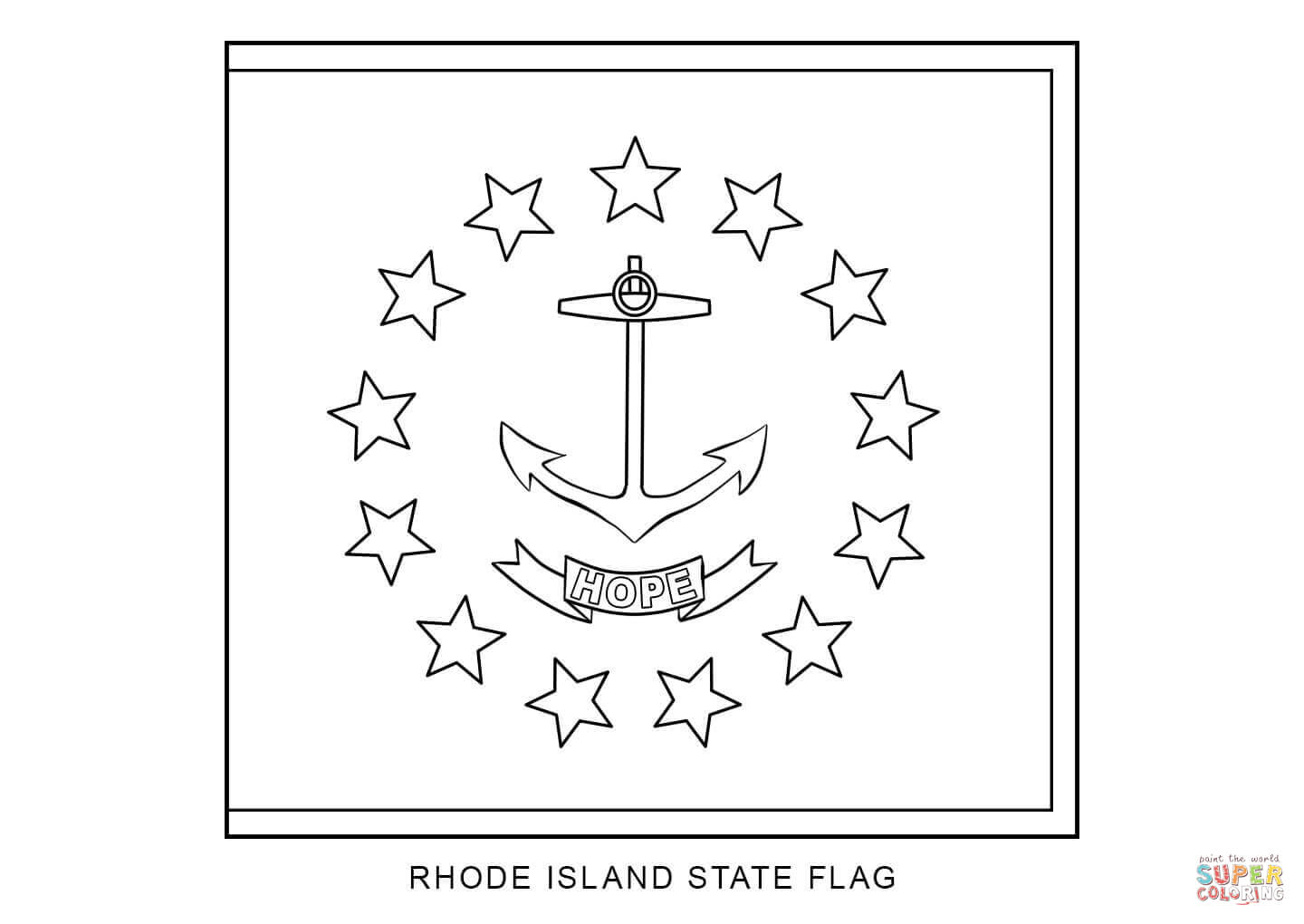 Flag Of Rhode Island Coloring Page