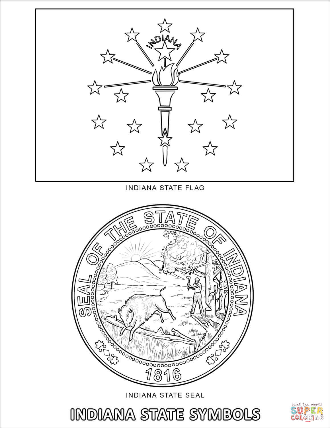 Indiana State Symbols Coloring Page