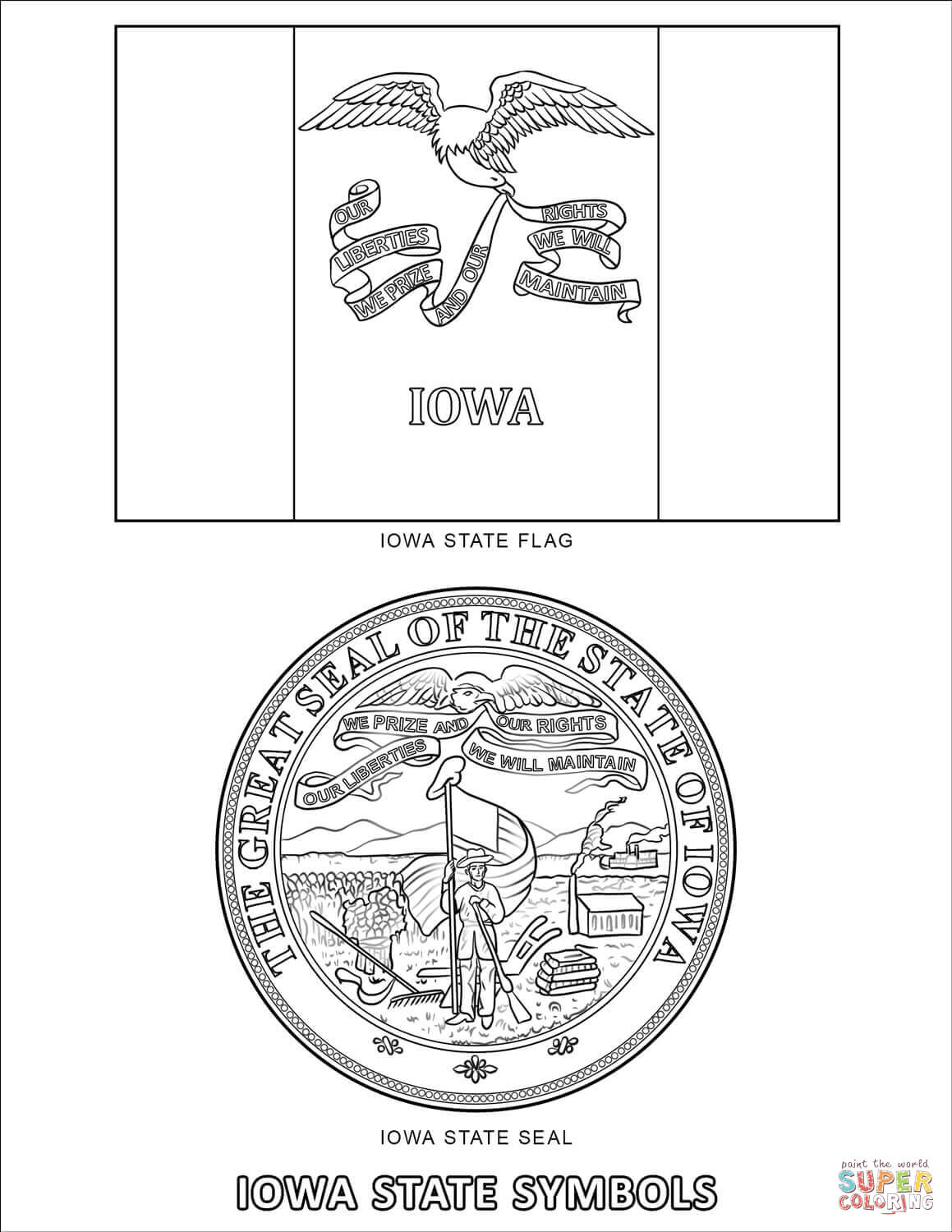 Iowa State Symbols Coloring Page