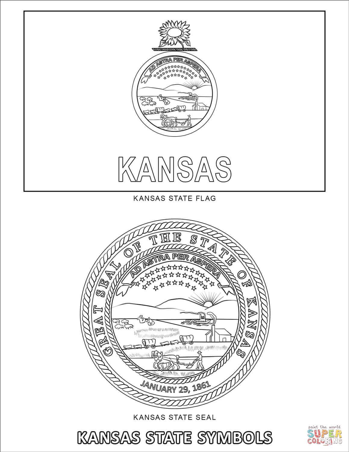 Kansas State Symbols Coloring Page Free Printable Coloring Pages