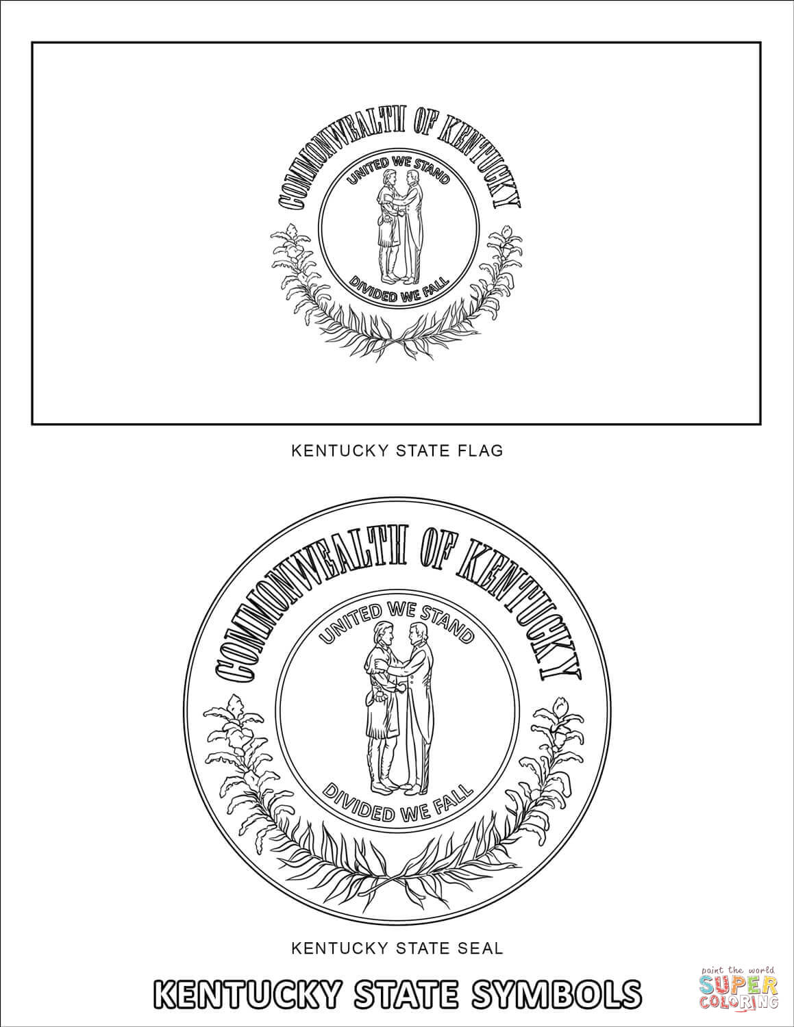Kentucky State Symbols Coloring Page