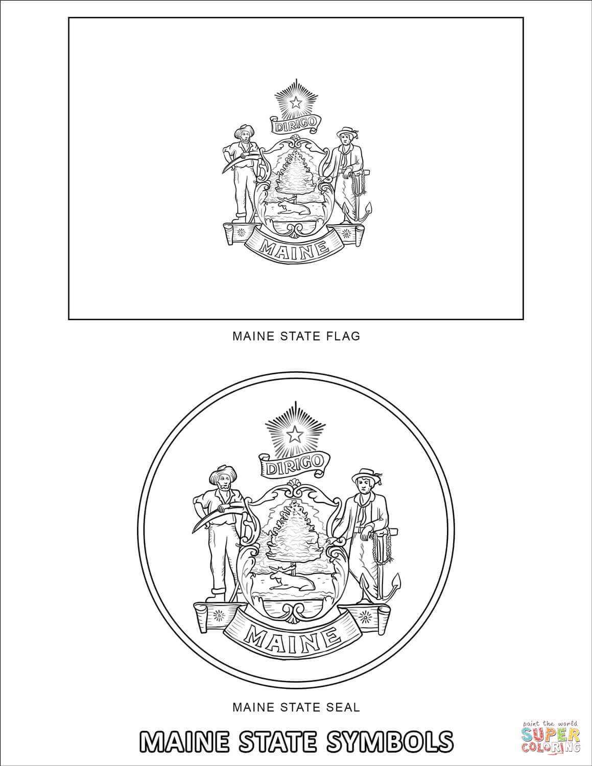 Maine State Symbols Coloring Page