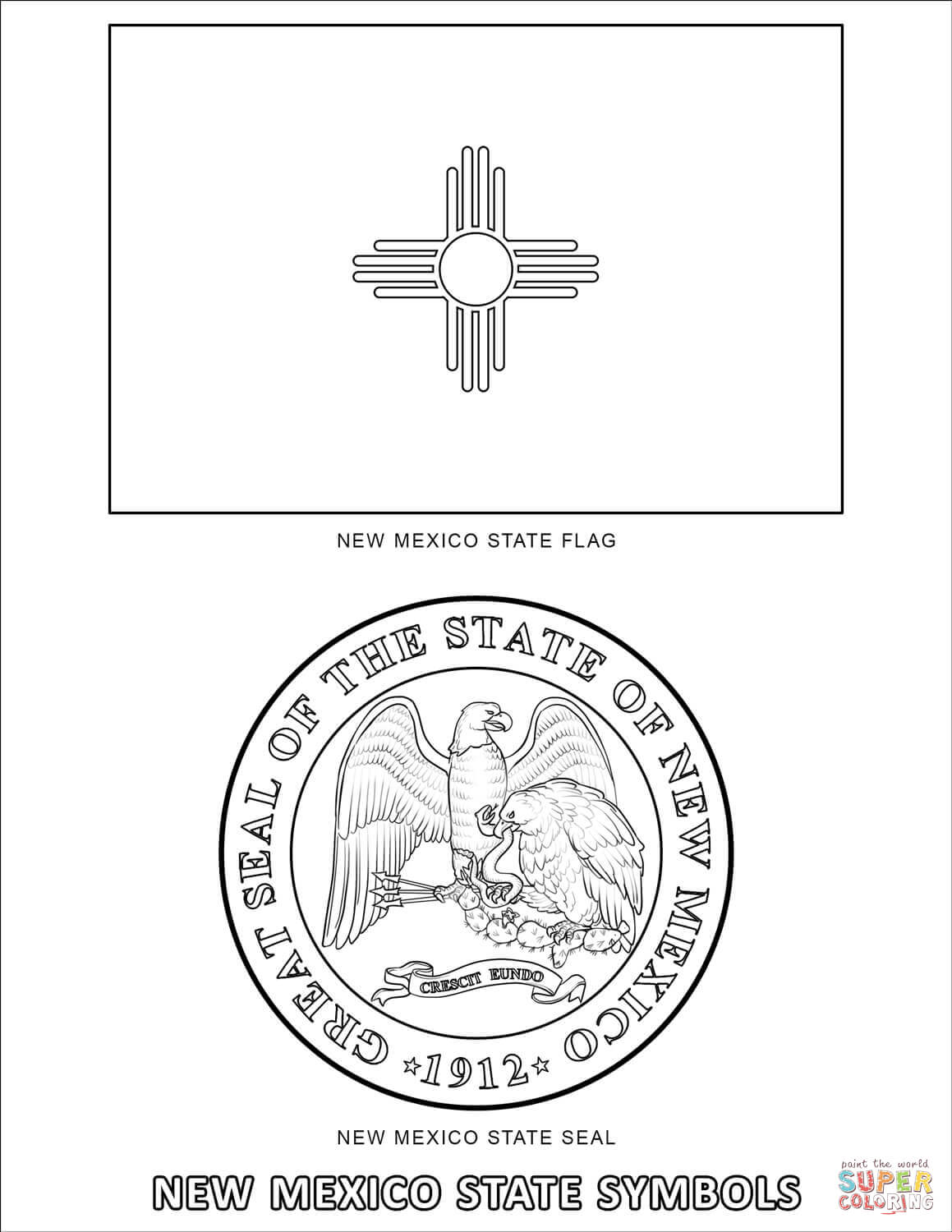 New Mexico State Symbols Coloring Page