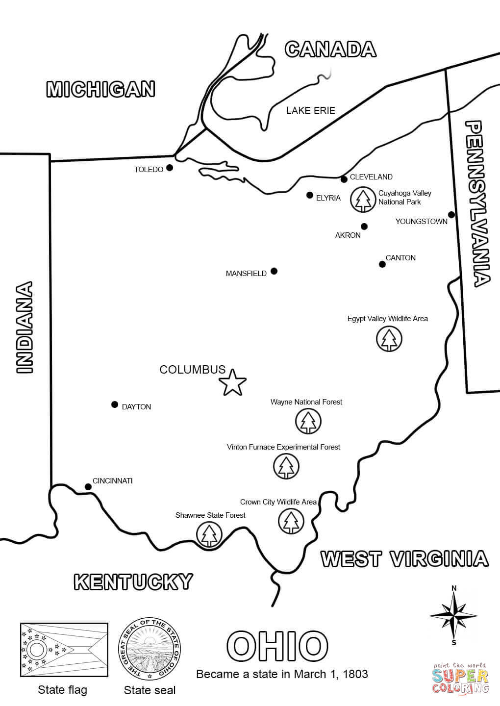 Ohio Map Coloring Page Free Printable Coloring Pages