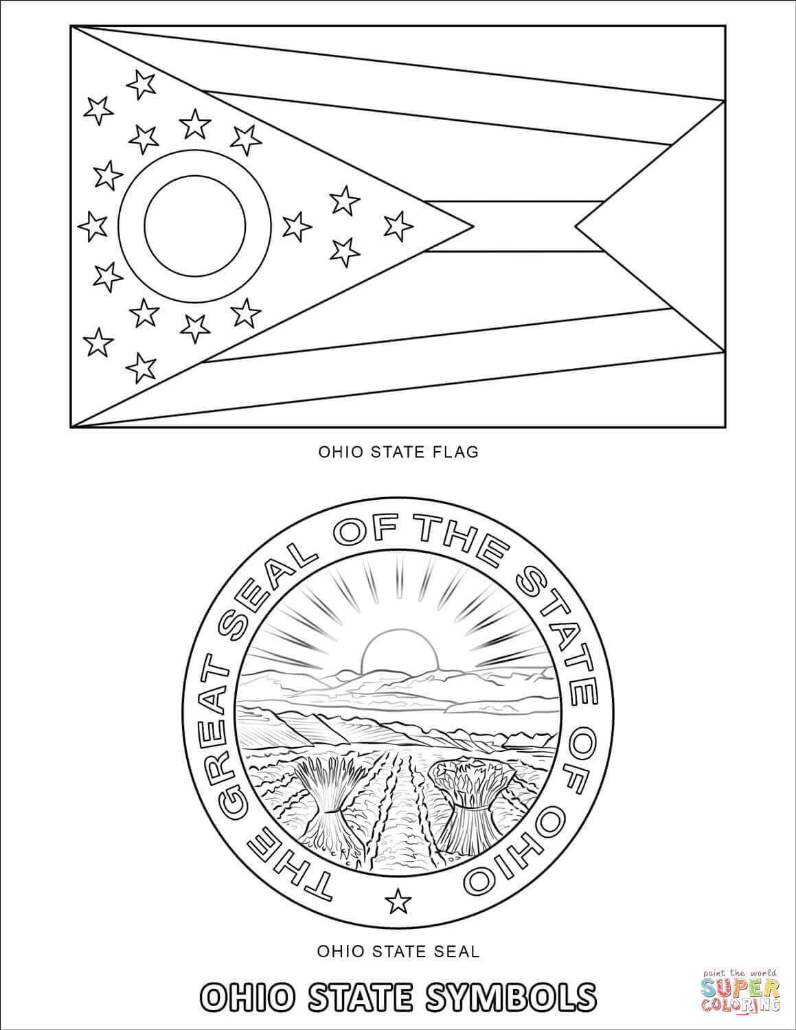 Ohio State Symbols Coloring Page