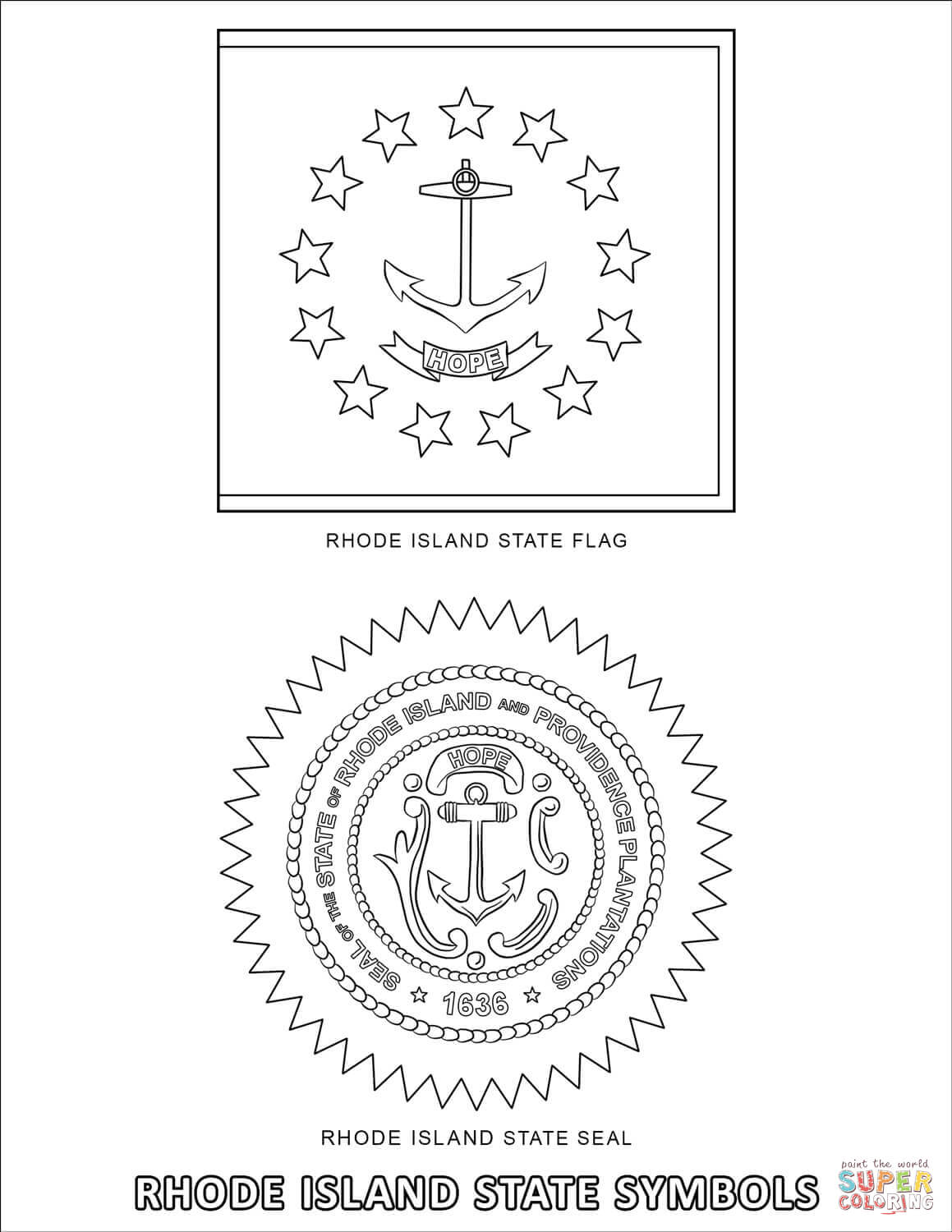Rhode Island State Symbols Coloring Page