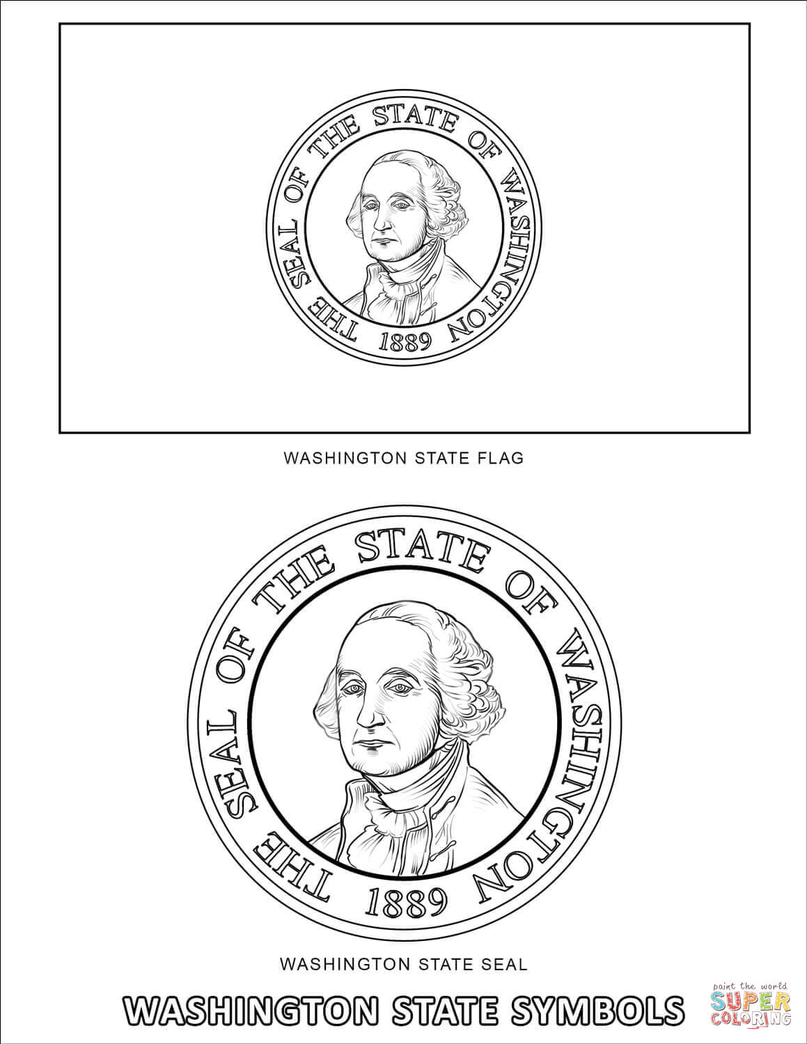 Washington State Symbols Coloring Page