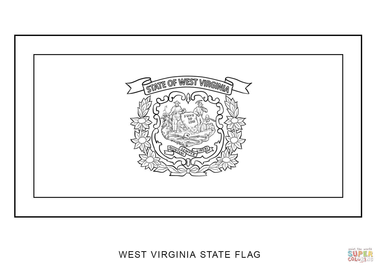 West Virginia State Flag Coloring Page