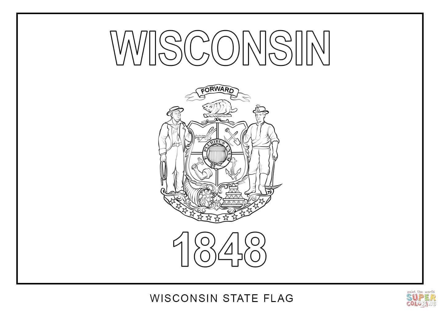 Wisconsin State Flag Coloring Page